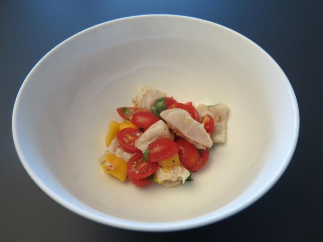 Kingfish ceviche, tomato salsa and mango
