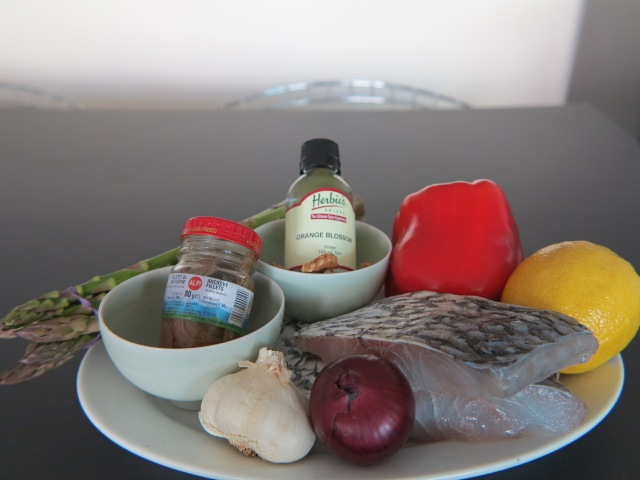Ingredients for crispy-skin Barramundi, green asparagus & capsicum salsa